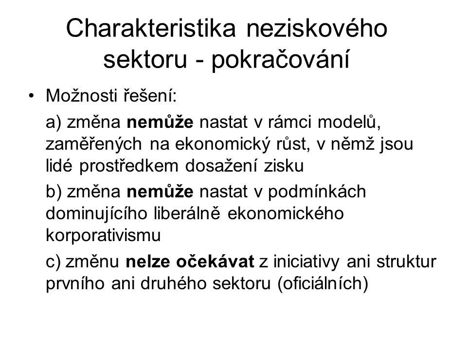Charakteristika neziskového sektoru - pokračování Možnosti řešení: a) změna nemůže nastat v rámci modelů, zaměřených na ekonomický růst, v němž jsou l
