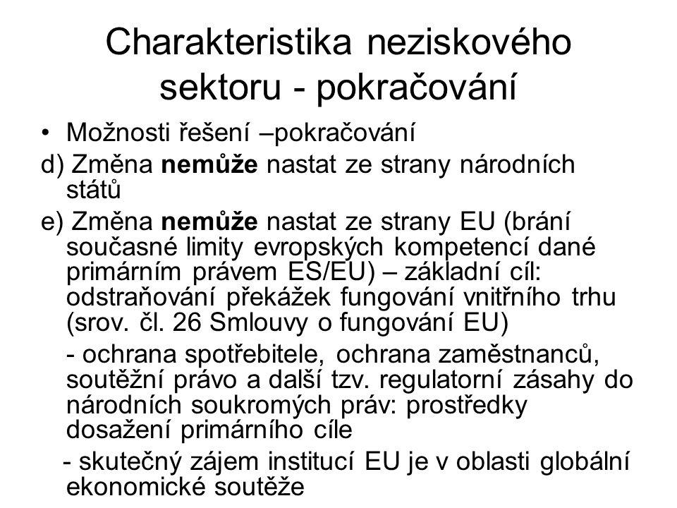 Charakteristika neziskového sektoru - pokračování Možnosti řešení –pokračování d) Změna nemůže nastat ze strany národních států e) Změna nemůže nastat