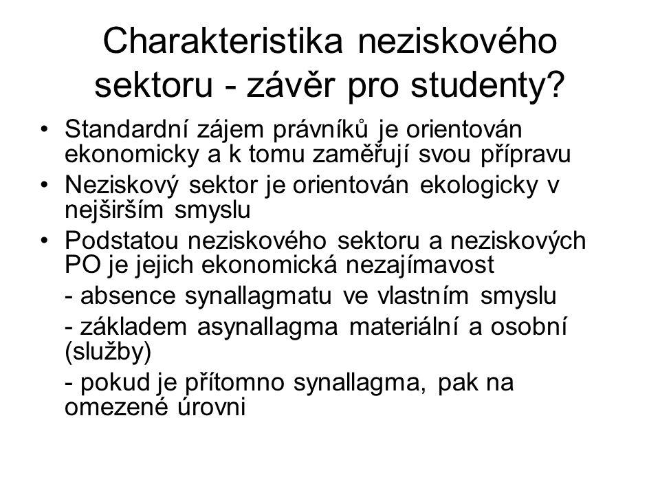 Charakteristika neziskového sektoru - závěr pro studenty.