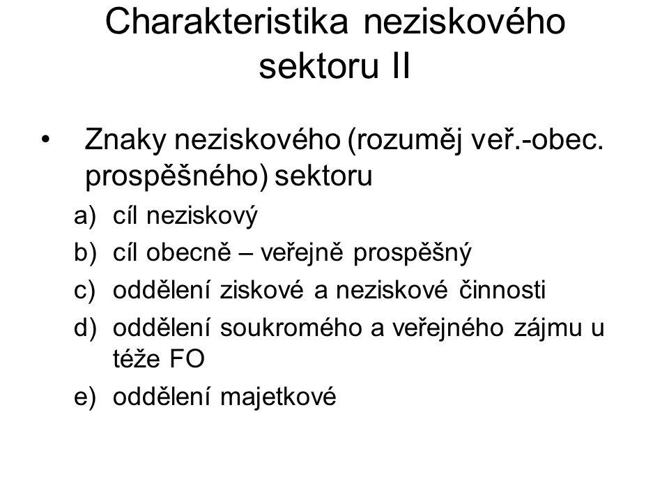 Charakteristika neziskového sektoru II Znaky neziskového (rozuměj veř.-obec.