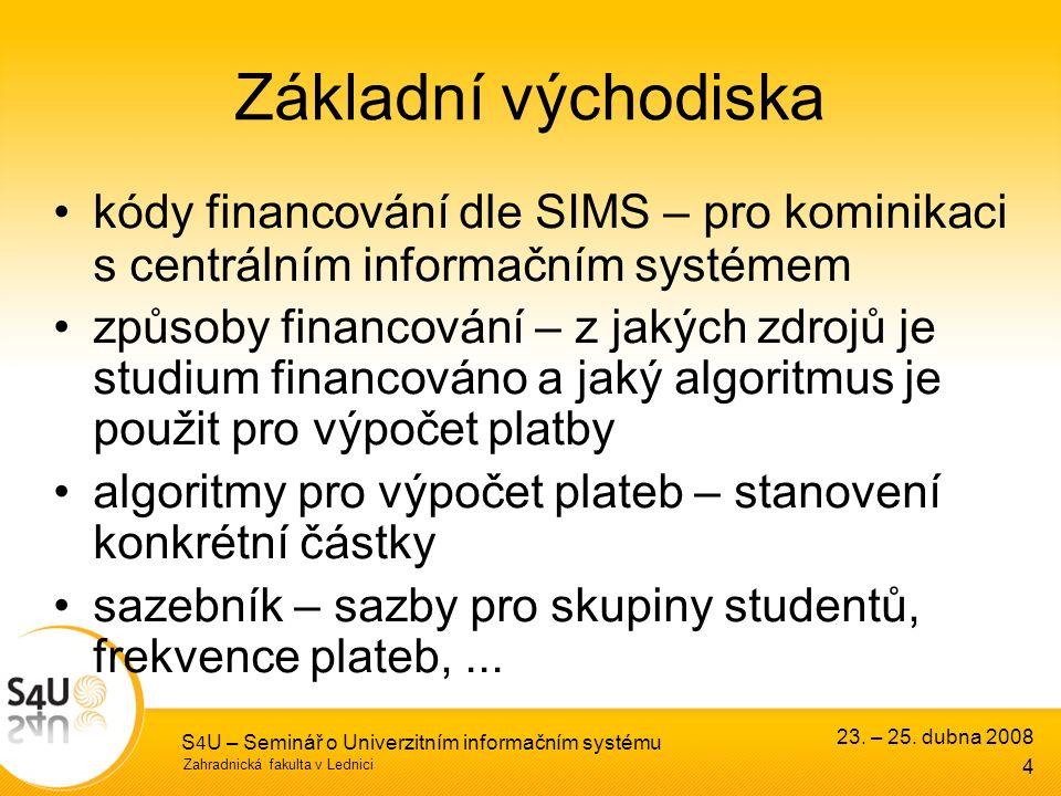 Zahradnická fakulta v Lednici S 4 U – Seminář o Univerzitním informačním systému 23. – 25. dubna 2008 4 Základní východiska kódy financování dle SIMS