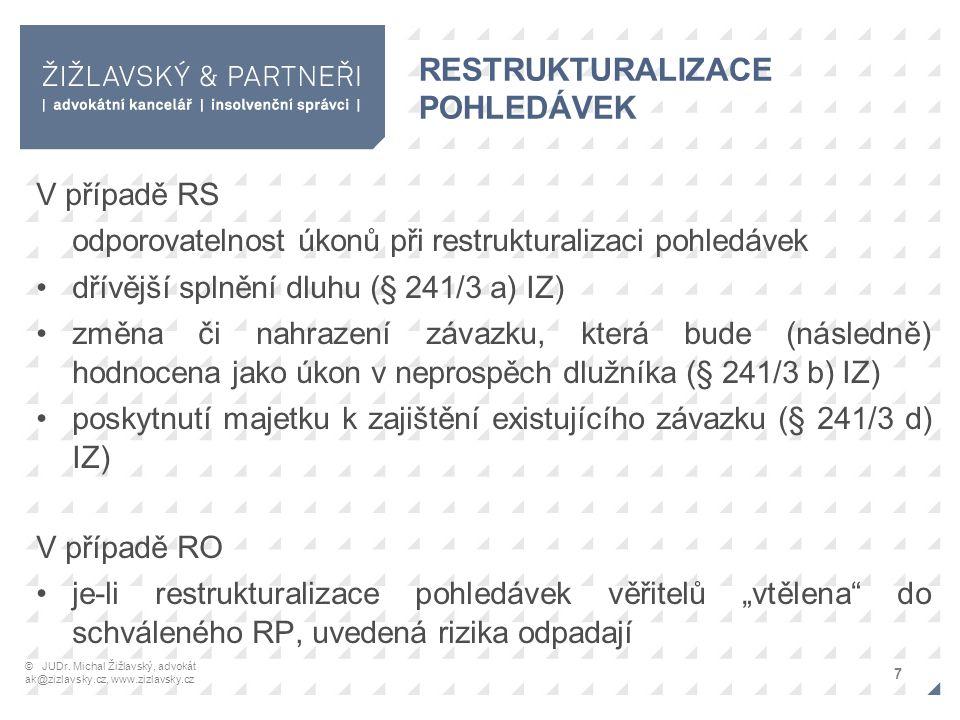 """RESTRUKTURALIZACE POHLEDÁVEK V případě RS odporovatelnost úkonů při restrukturalizaci pohledávek dřívější splnění dluhu (§ 241/3 a) IZ) změna či nahrazení závazku, která bude (následně) hodnocena jako úkon v neprospěch dlužníka (§ 241/3 b) IZ) poskytnutí majetku k zajištění existujícího závazku (§ 241/3 d) IZ) V případě RO je-li restrukturalizace pohledávek věřitelů """"vtělena do schváleného RP, uvedená rizika odpadají 7 © JUDr."""