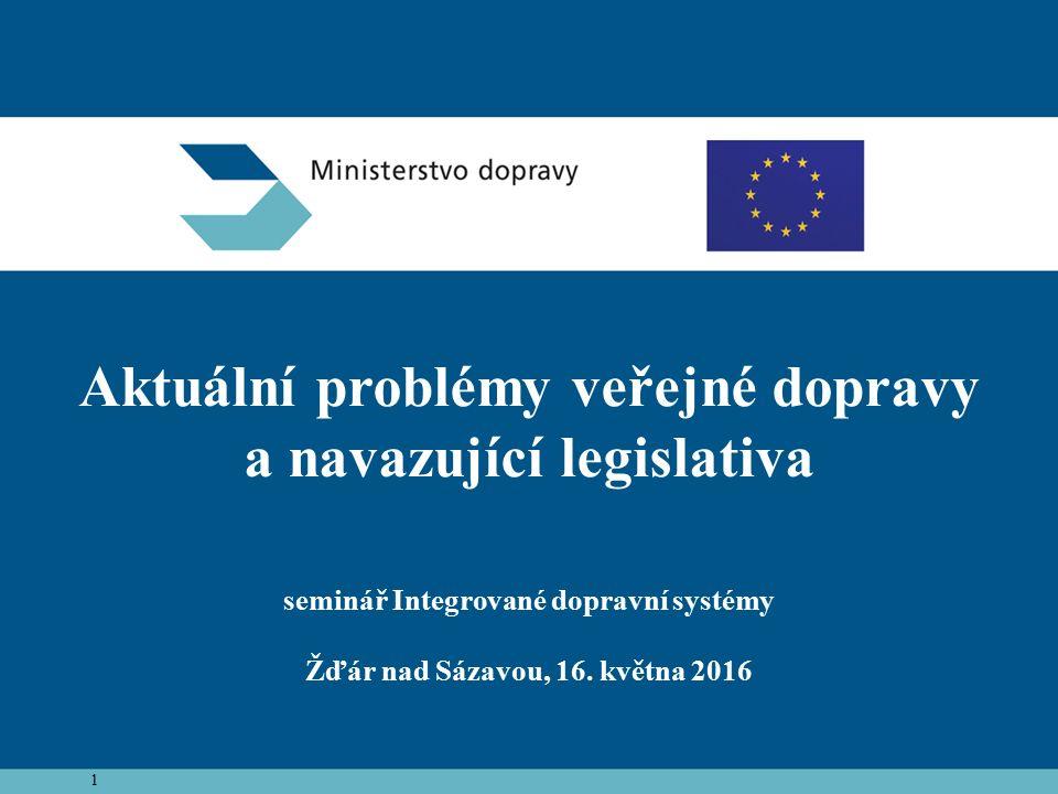1 Aktuální problémy veřejné dopravy a navazující legislativa seminář Integrované dopravní systémy Žďár nad Sázavou, 16.