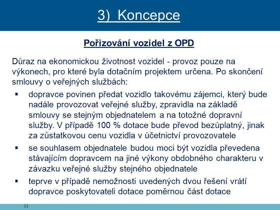 13 Pořizování vozidel z OPD Důraz na ekonomickou životnost vozidel - provoz pouze na výkonech, pro které byla dotačním projektem určena.