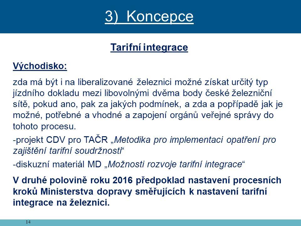 14 Tarifní integrace Východisko: zda má být i na liberalizované železnici možné získat určitý typ jízdního dokladu mezi libovolnými dvěma body české železniční sítě, pokud ano, pak za jakých podmínek, a zda a popřípadě jak je možné, potřebné a vhodné a zapojení orgánů veřejné správy do tohoto procesu.