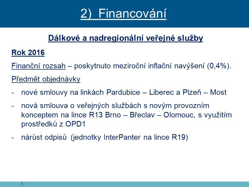 5 Dálkové a nadregionální veřejné služby Rok 2016 Finanční rozsah – poskytnuto meziroční inflační navýšení (0,4%).