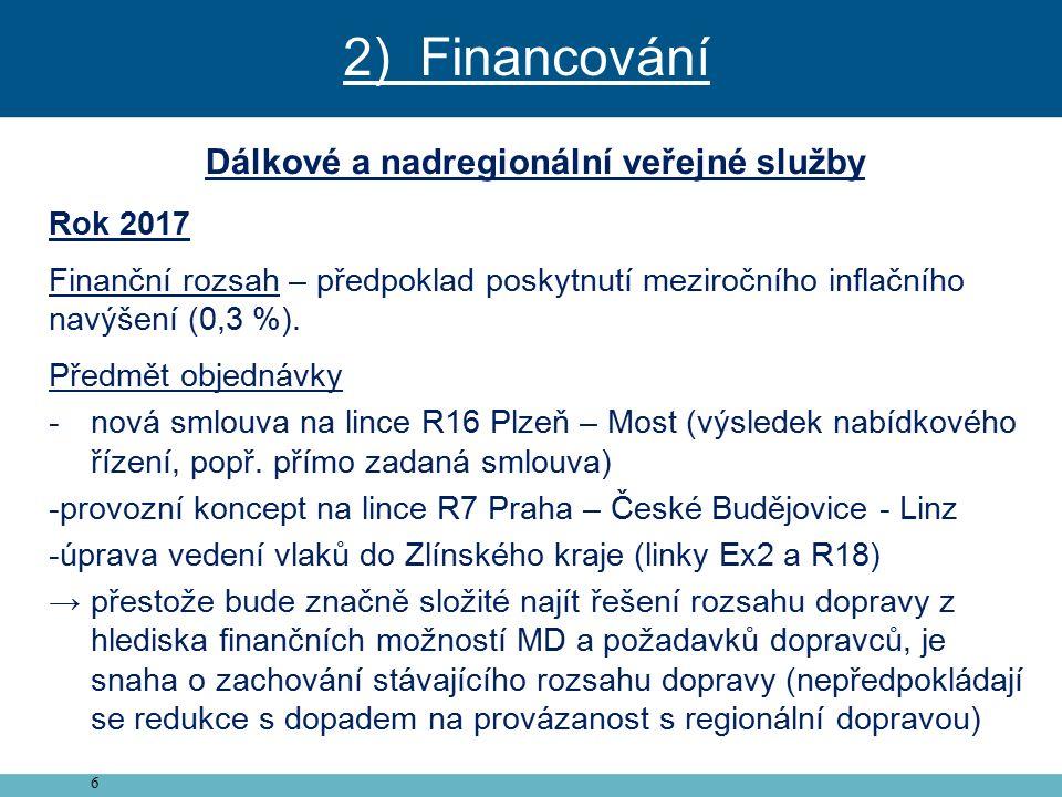 6 Dálkové a nadregionální veřejné služby Rok 2017 Finanční rozsah – předpoklad poskytnutí meziročního inflačního navýšení (0,3 %).