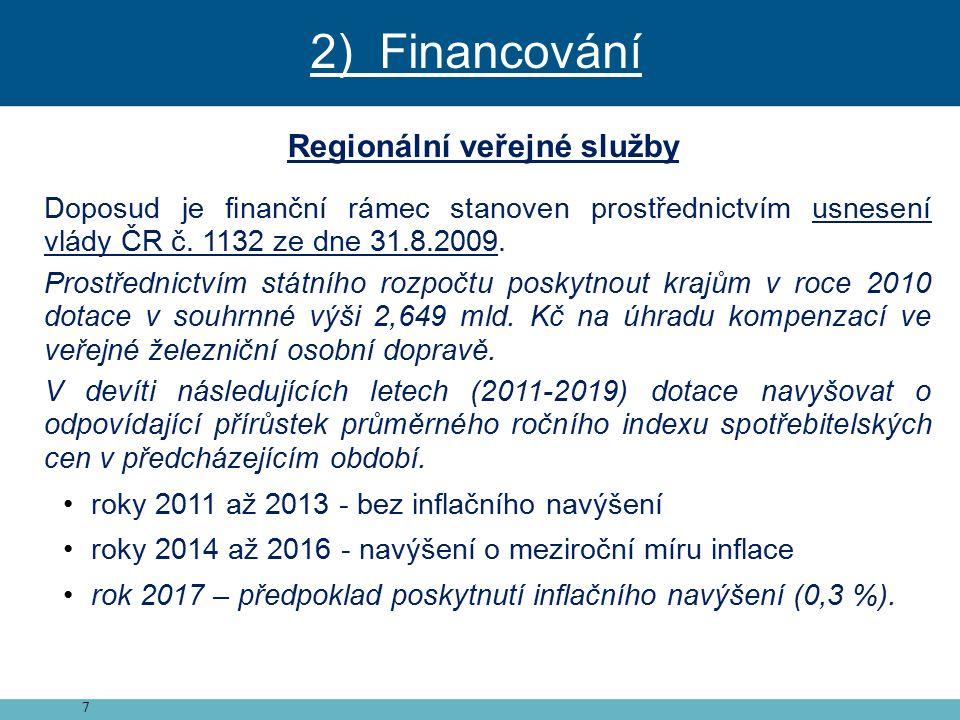 7 Regionální veřejné služby Doposud je finanční rámec stanoven prostřednictvím usnesení vlády ČR č.