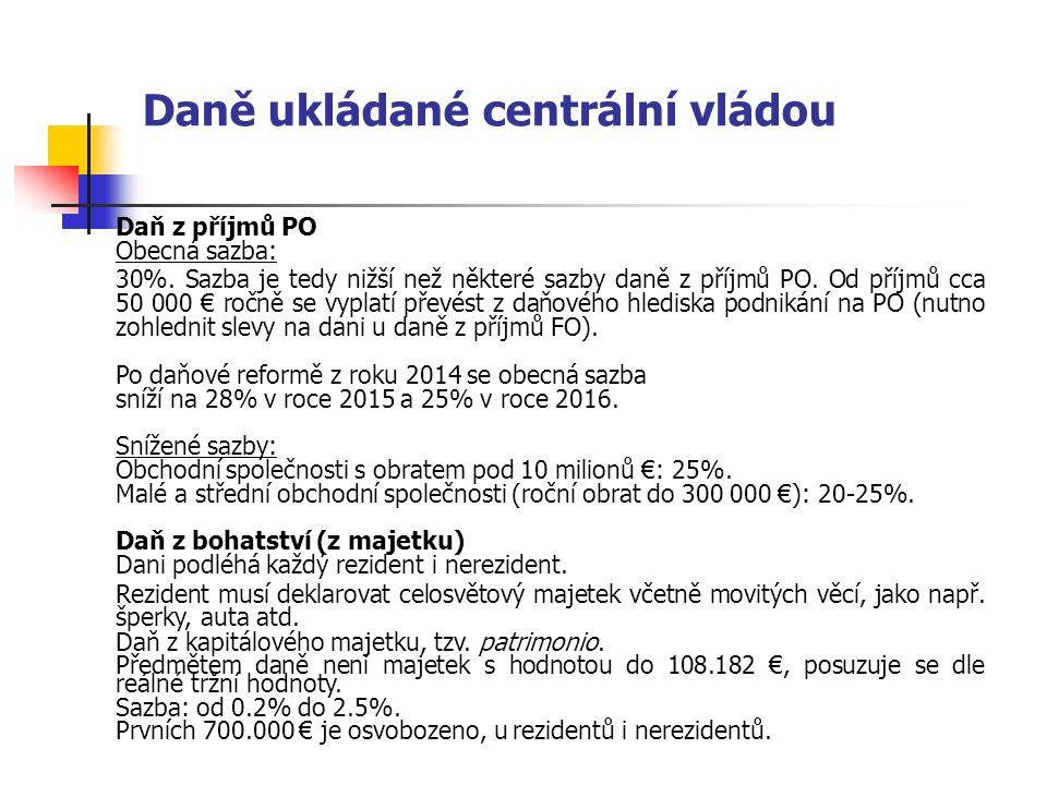 Daně ukládané centrální vládou Daň z příjmů PO Obecná sazba: 30%. Sazba je tedy nižší než některé sazby daně z příjmů PO. Od příjmů cca 50 000 € ročně