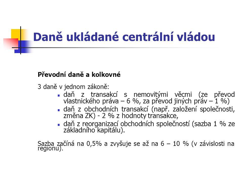 Daně ukládané centrální vládou Převodní daně a kolkovné 3 daně v jednom zákoně: daň z transakcí s nemovitými věcmi (ze převod vlastnického práva – 6 %