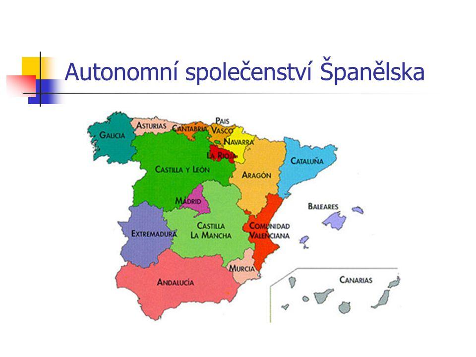 Autonomní společenství vytváří 50 provincií Španělského království seskupených do 17 autonomních regionů.