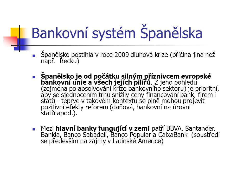 Bankovní systém Španělska Španělsko postihla v roce 2009 dluhová krize (příčina jiná než např. Řecku) Španělsko je od počátku silným příznivcem evrops