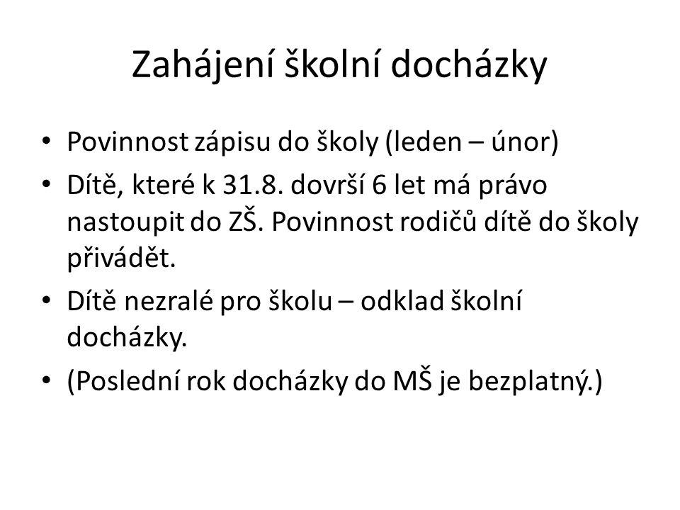 Zahájení školní docházky Povinnost zápisu do školy (leden – únor) Dítě, které k 31.8.