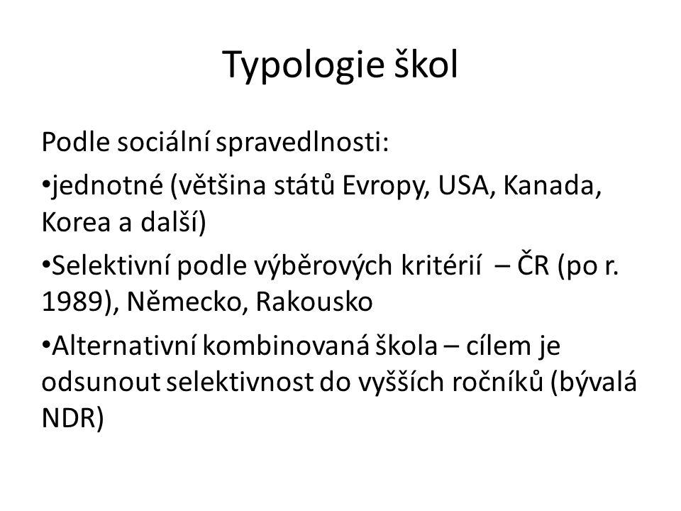 Typologie škol Podle sociální spravedlnosti: jednotné (většina států Evropy, USA, Kanada, Korea a další) Selektivní podle výběrových kritérií – ČR (po r.