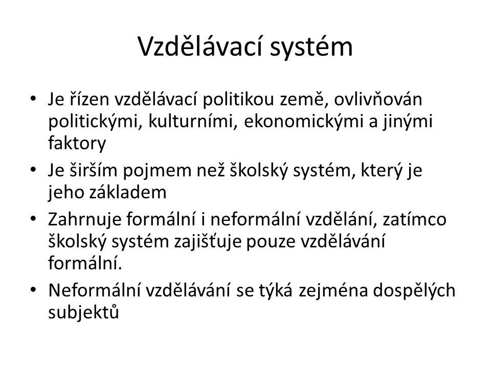 Vzdělávací systém Je řízen vzdělávací politikou země, ovlivňován politickými, kulturními, ekonomickými a jinými faktory Je širším pojmem než školský systém, který je jeho základem Zahrnuje formální i neformální vzdělání, zatímco školský systém zajišťuje pouze vzdělávání formální.