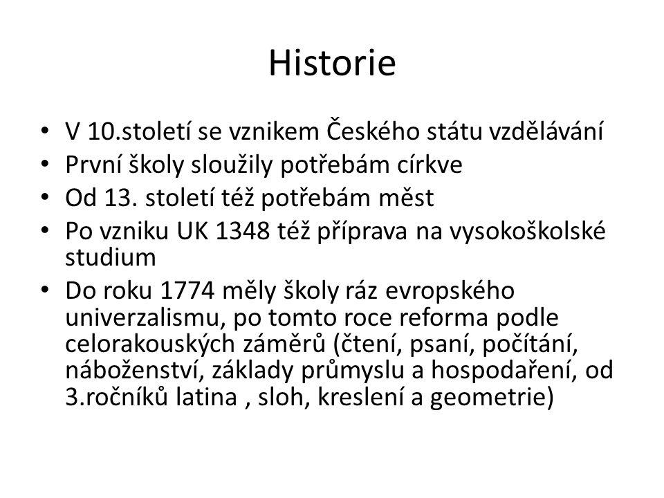 Historie V 10.století se vznikem Českého státu vzdělávání První školy sloužily potřebám církve Od 13.