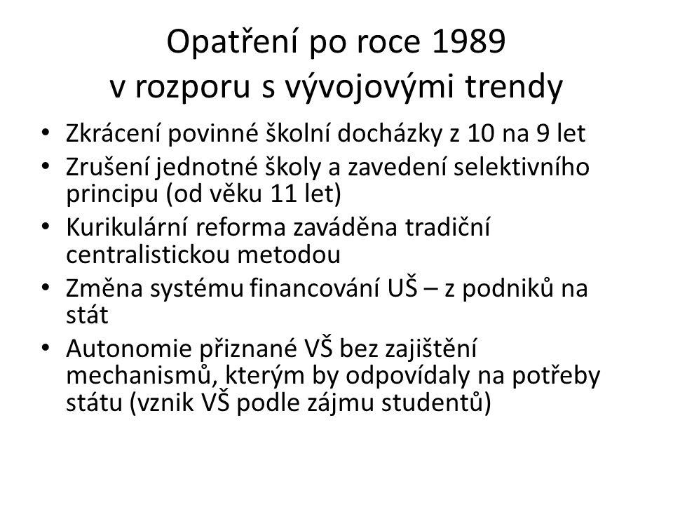 Opatření po roce 1989 v rozporu s vývojovými trendy Zkrácení povinné školní docházky z 10 na 9 let Zrušení jednotné školy a zavedení selektivního principu (od věku 11 let) Kurikulární reforma zaváděna tradiční centralistickou metodou Změna systému financování UŠ – z podniků na stát Autonomie přiznané VŠ bez zajištění mechanismů, kterým by odpovídaly na potřeby státu (vznik VŠ podle zájmu studentů)