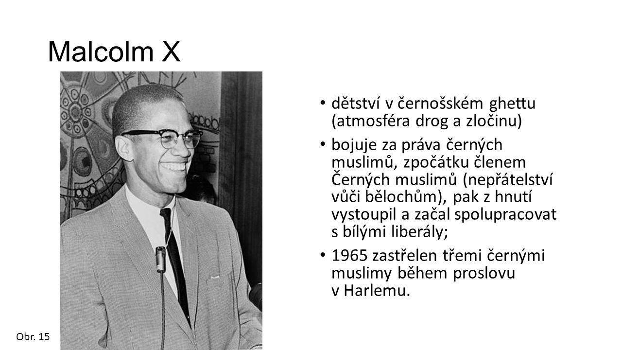 Malcolm X dětství v černošském ghettu (atmosféra drog a zločinu) bojuje za práva černých muslimů, zpočátku členem Černých muslimů (nepřátelství vůči bělochům), pak z hnutí vystoupil a začal spolupracovat s bílými liberály; 1965 zastřelen třemi černými muslimy během proslovu v Harlemu.