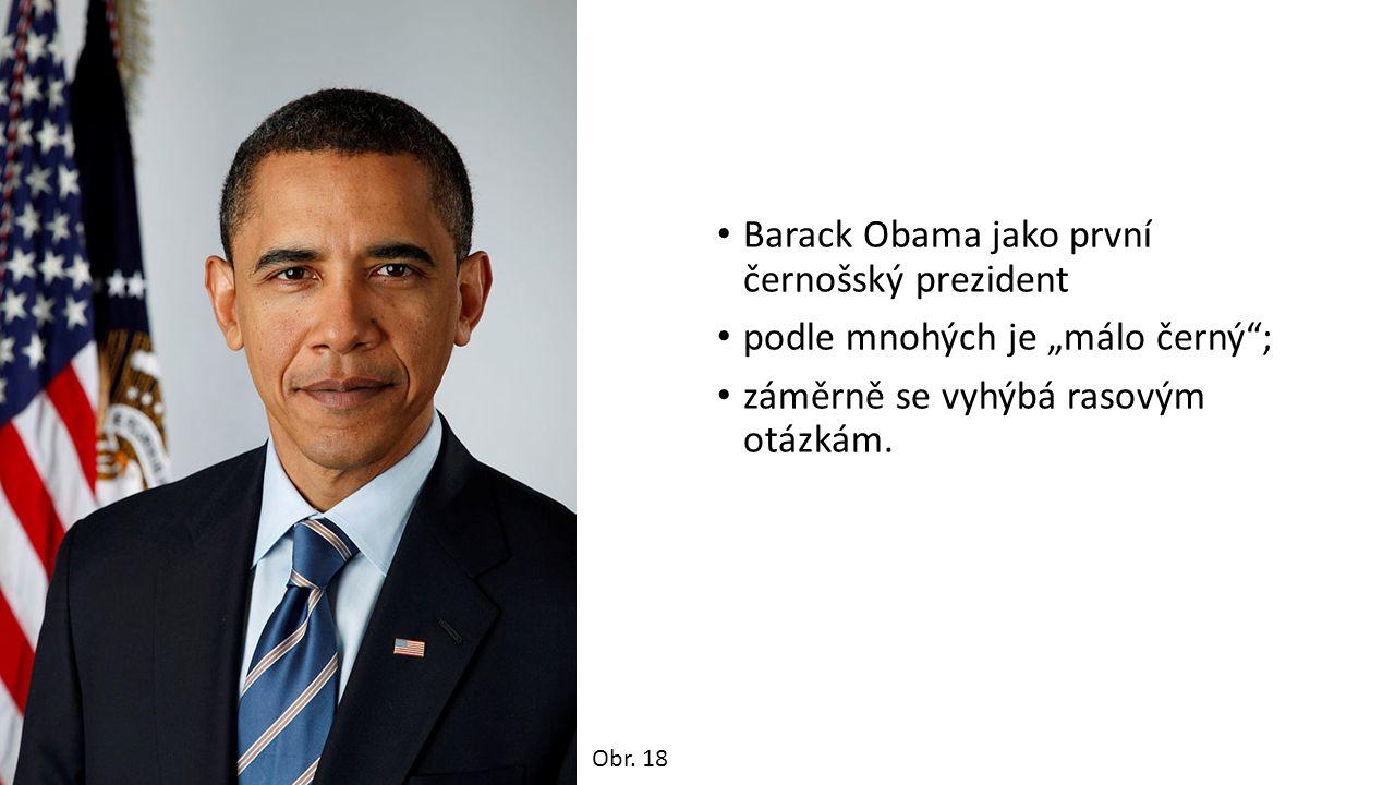 """Barack Obama jako první černošský prezident podle mnohých je """"málo černý ; záměrně se vyhýbá rasovým otázkám."""