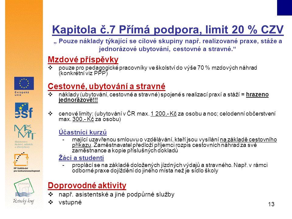 """13 Kapitola č.7 Přímá podpora, limit 20 % CZV """" Pouze náklady týkající se cílové skupiny např."""