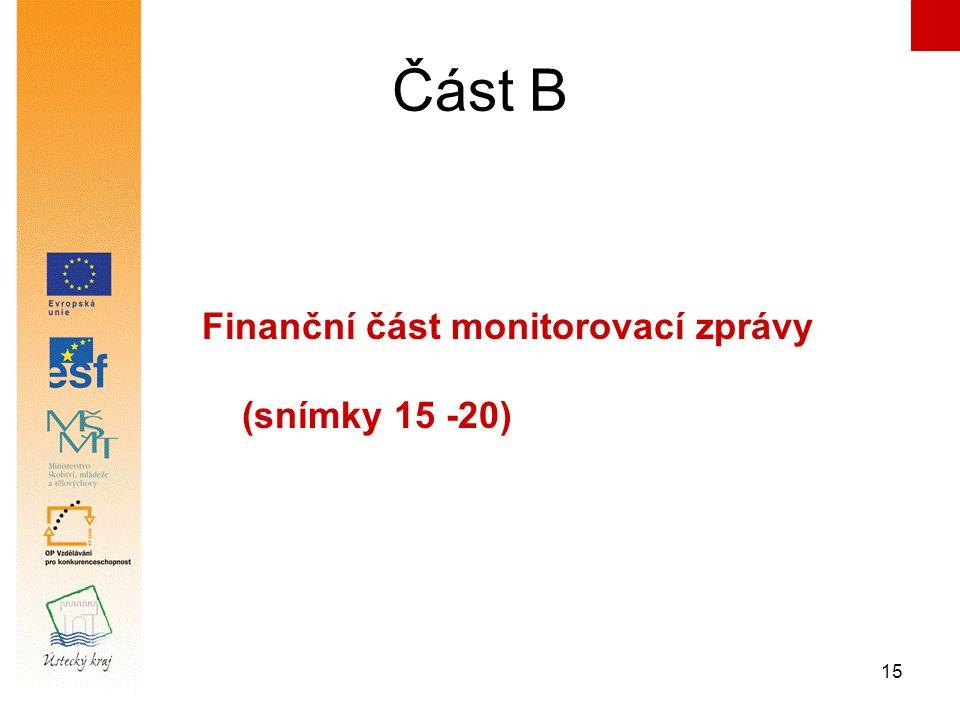 15 Část B Finanční část monitorovací zprávy (snímky 15 -20)