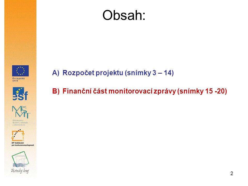 3 Část A Rozpočet projektu (snímky 3 – 14)