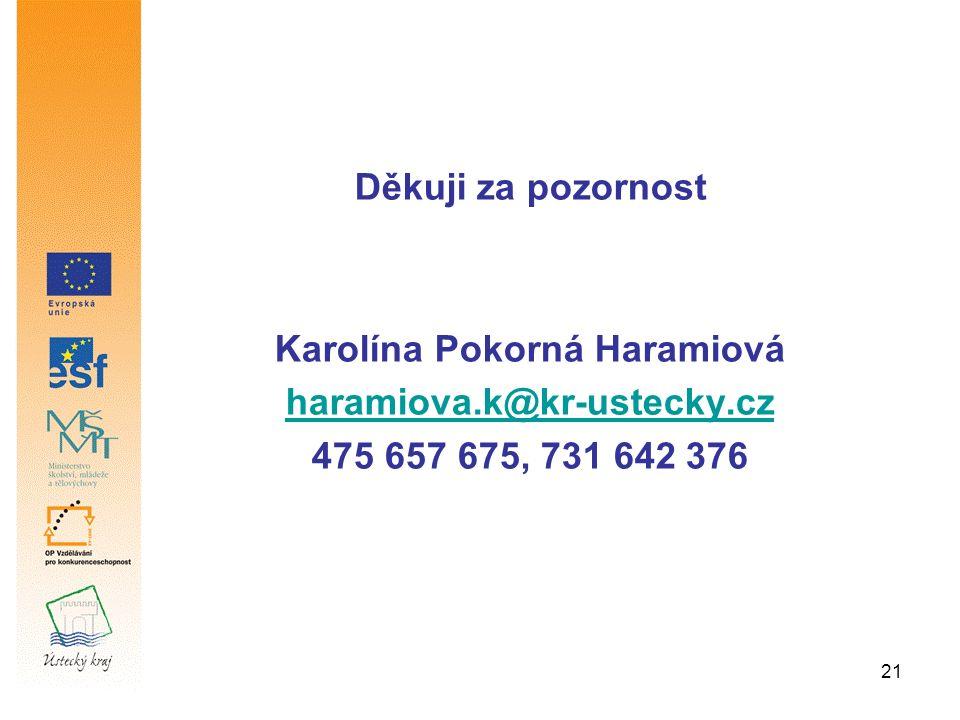 21 Děkuji za pozornost Karolína Pokorná Haramiová haramiova.k@kr-ustecky.cz 475 657 675, 731 642 376