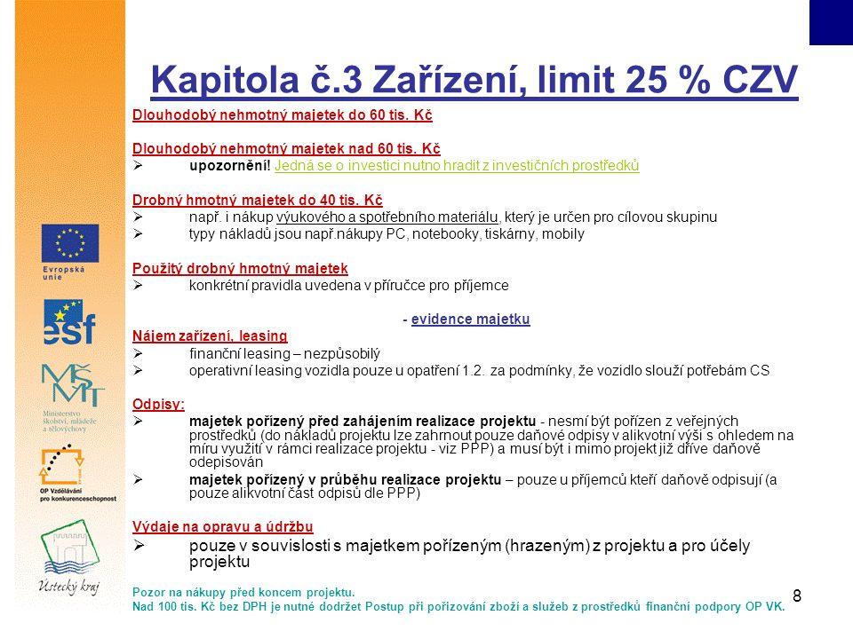 8 Kapitola č.3 Zařízení, limit 25 % CZV Dlouhodobý nehmotný majetek do 60 tis.