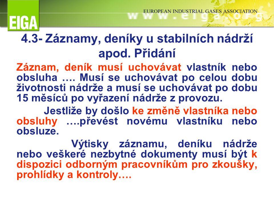 4.3- Záznamy, deníky u stabilních nádrží apod.