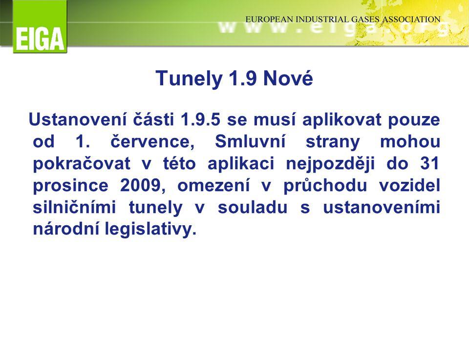 Tunely 1.9 Nové Ustanovení části 1.9.5 se musí aplikovat pouze od 1.