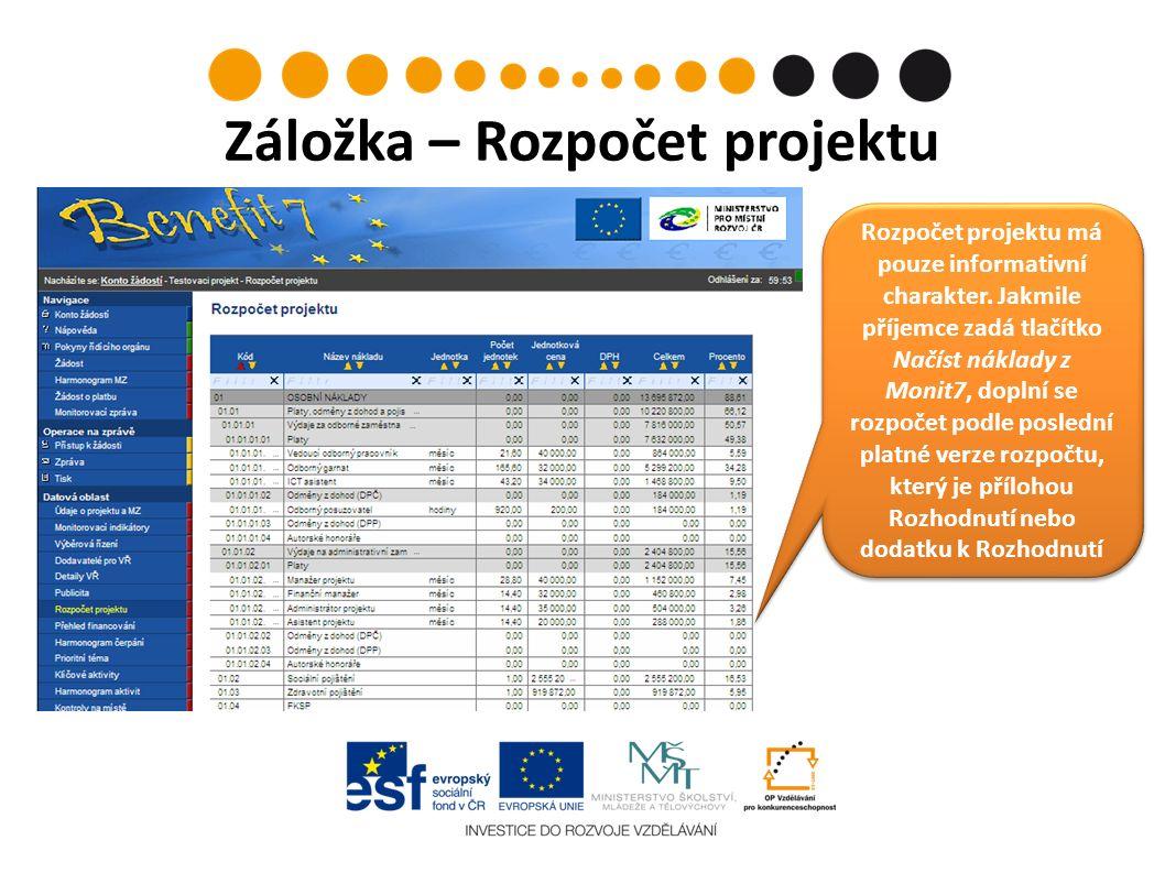 Záložka – Rozpočet projektu Rozpočet projektu má pouze informativní charakter.