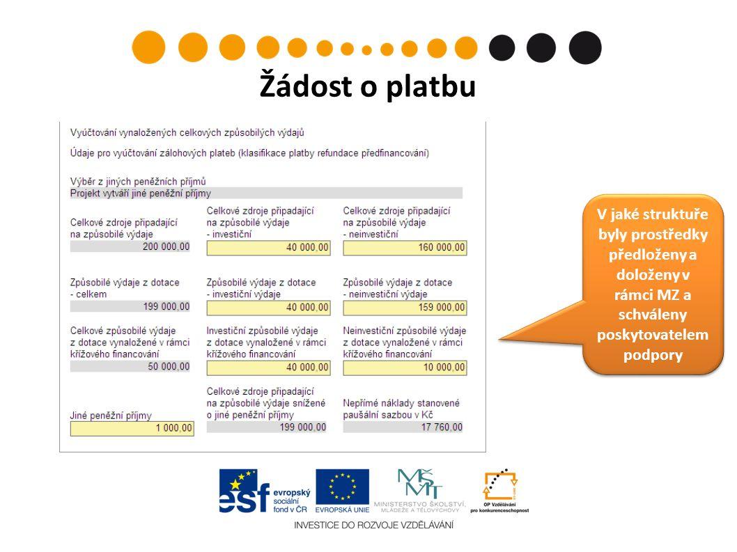Žádost o platbu V jaké struktuře byly prostředky předloženy a doloženy v rámci MZ a schváleny poskytovatelem podpory