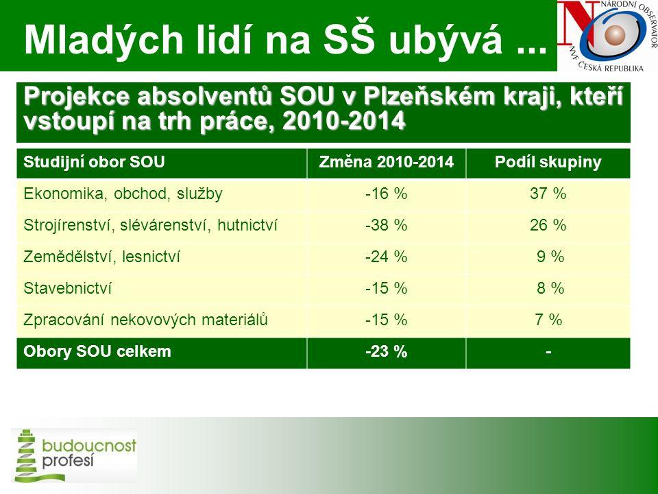 Projekce absolventů SOU v Plzeňském kraji, kteří vstoupí na trh práce, 2010-2014 Studijní obor SOUZměna 2010-2014Podíl skupiny Ekonomika, obchod, služby-16 %37 % Strojírenství, slévárenství, hutnictví-38 %26 % Zemědělství, lesnictví-24 % 9 % Stavebnictví-15 % 8 % Zpracování nekovových materiálů-15 %7 % Obory SOU celkem-23 %- Mladých lidí na SŠ ubývá...