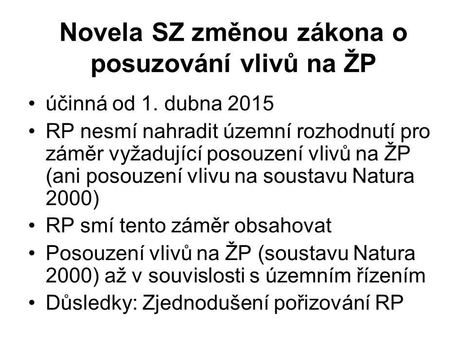 Novela SZ změnou zákona o posuzování vlivů na ŽP účinná od 1. dubna 2015 RP nesmí nahradit územní rozhodnutí pro záměr vyžadující posouzení vlivů na Ž