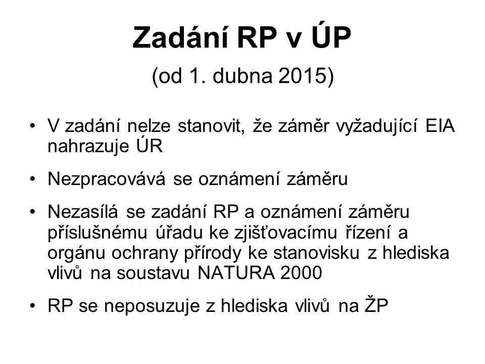 Zadání RP v ÚP (od 1. dubna 2015) V zadání nelze stanovit, že záměr vyžadující EIA nahrazuje ÚR Nezpracovává se oznámení záměru Nezasílá se zadání RP