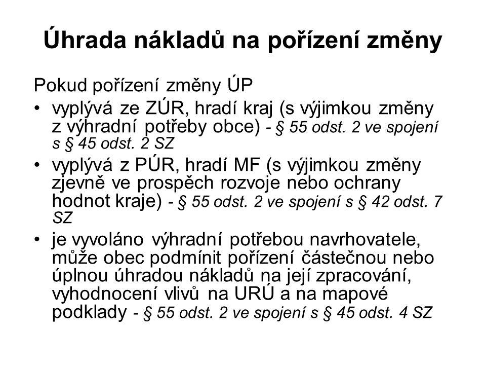 Úhrada nákladů na pořízení změny Pokud pořízení změny ÚP vyplývá ze ZÚR, hradí kraj (s výjimkou změny z výhradní potřeby obce) - § 55 odst.