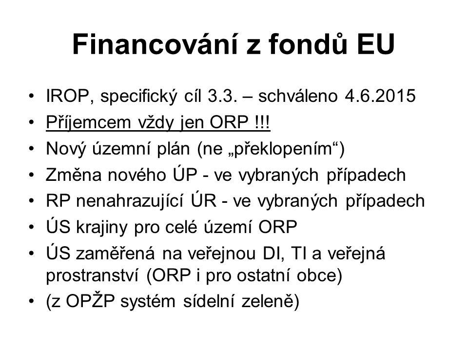 """Financování z fondů EU IROP, specifický cíl 3.3. – schváleno 4.6.2015 Příjemcem vždy jen ORP !!! Nový územní plán (ne """"překlopením"""") Změna nového ÚP -"""