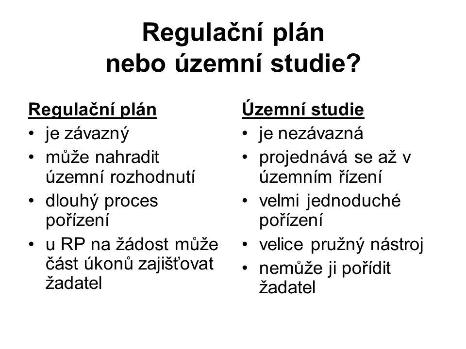 Regulační plán nebo územní studie? Regulační plán je závazný může nahradit územní rozhodnutí dlouhý proces pořízení u RP na žádost může část úkonů zaj