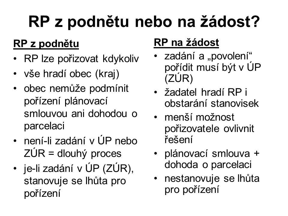 RP z podnětu nebo na žádost? RP z podnětu RP lze pořizovat kdykoliv vše hradí obec (kraj) obec nemůže podmínit pořízení plánovací smlouvou ani dohodou