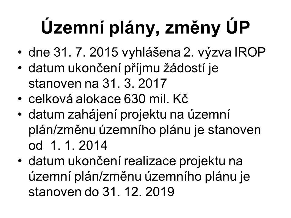 Územní plány, změny ÚP dne 31. 7. 2015 vyhlášena 2. výzva IROP datum ukončení příjmu žádostí je stanoven na 31. 3. 2017 celková alokace 630 mil. Kč da