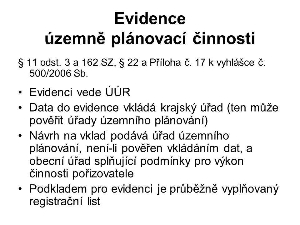 Evidence územně plánovací činnosti § 11 odst. 3 a 162 SZ, § 22 a Příloha č. 17 k vyhlášce č. 500/2006 Sb. Evidenci vede ÚÚR Data do evidence vkládá kr