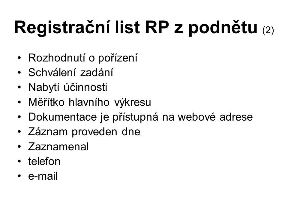Registrační list RP z podnětu (2) Rozhodnutí o pořízení Schválení zadání Nabytí účinnosti Měřítko hlavního výkresu Dokumentace je přístupná na webové adrese Záznam proveden dne Zaznamenal telefon e-mail