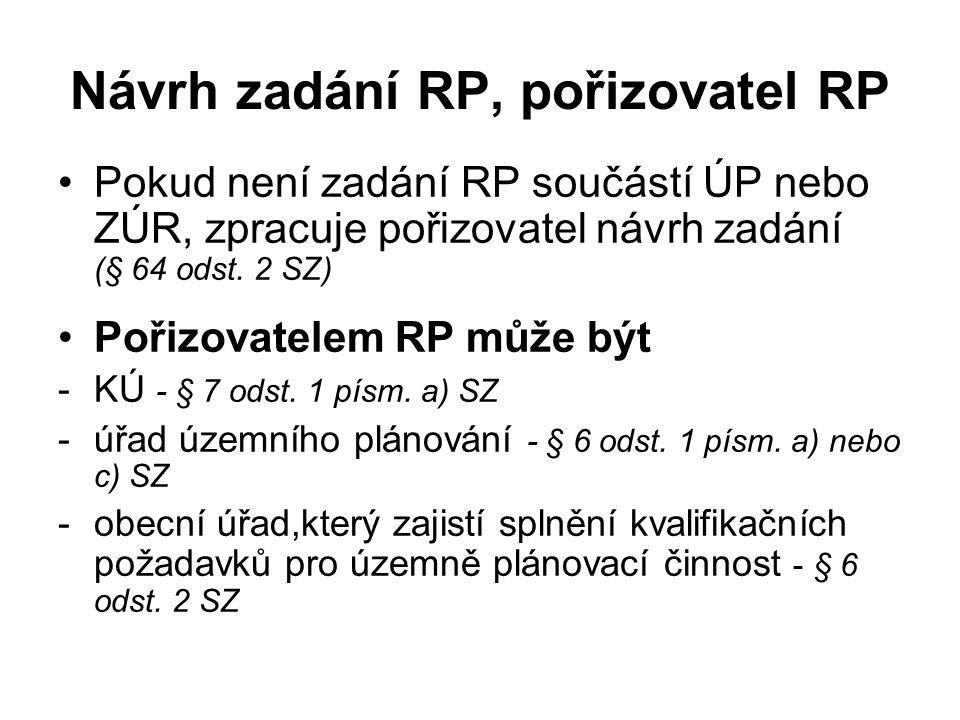 Návrh zadání RP, pořizovatel RP Pokud není zadání RP součástí ÚP nebo ZÚR, zpracuje pořizovatel návrh zadání (§ 64 odst. 2 SZ) Pořizovatelem RP může b