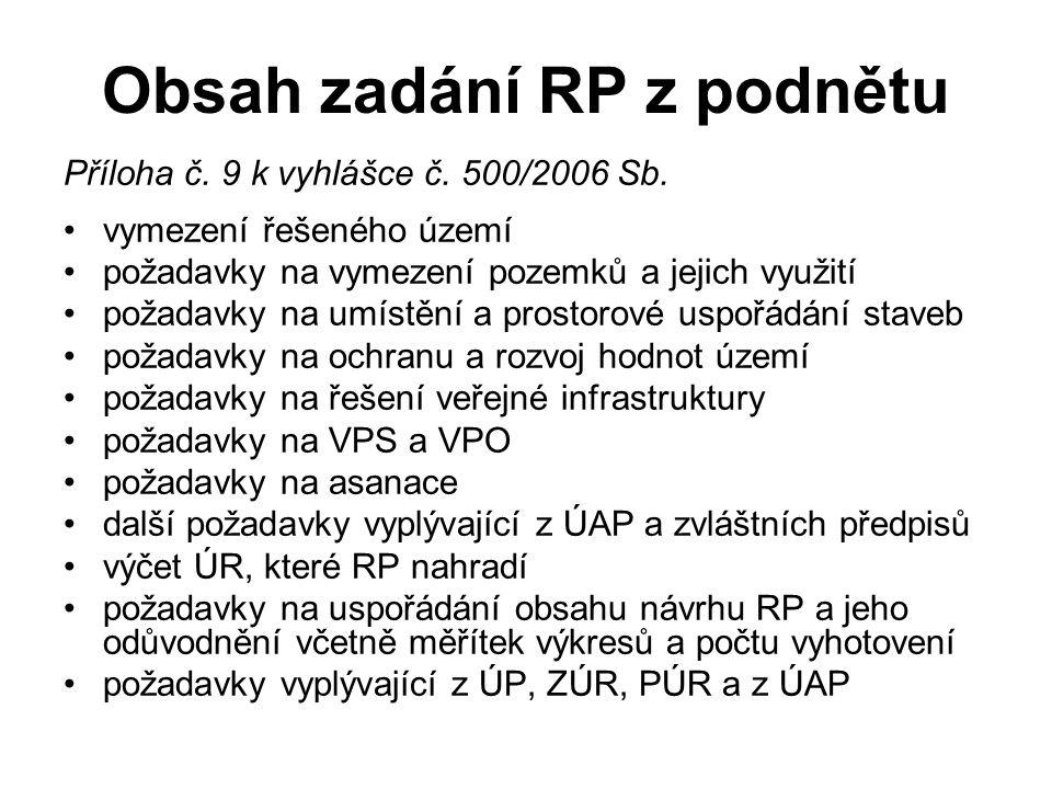 Obsah zadání RP z podnětu Příloha č. 9 k vyhlášce č. 500/2006 Sb. vymezení řešeného území požadavky na vymezení pozemků a jejich využití požadavky na