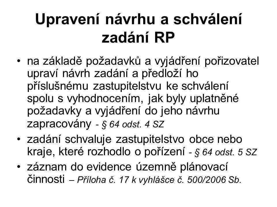 Upravení návrhu a schválení zadání RP na základě požadavků a vyjádření pořizovatel upraví návrh zadání a předloží ho příslušnému zastupitelstvu ke sch