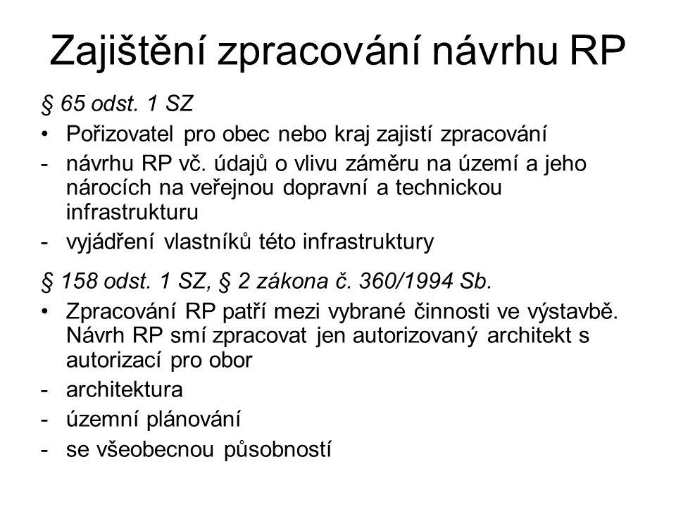Zajištění zpracování návrhu RP § 65 odst. 1 SZ Pořizovatel pro obec nebo kraj zajistí zpracování -návrhu RP vč. údajů o vlivu záměru na území a jeho n