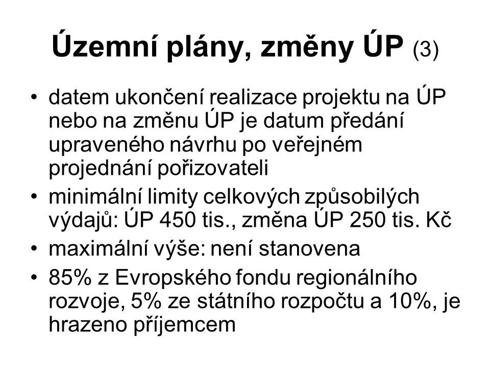 Územní plány, změny ÚP (3) datem ukončení realizace projektu na ÚP nebo na změnu ÚP je datum předání upraveného návrhu po veřejném projednání pořizovateli minimální limity celkových způsobilých výdajů: ÚP 450 tis., změna ÚP 250 tis.