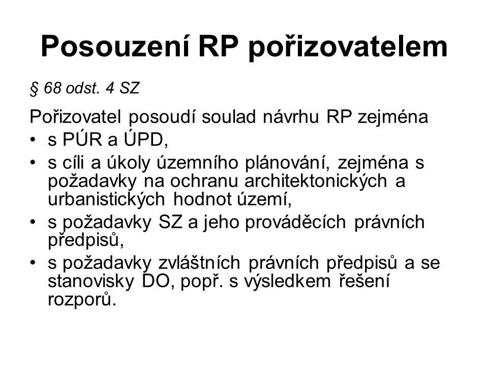 Posouzení RP pořizovatelem § 68 odst. 4 SZ Pořizovatel posoudí soulad návrhu RP zejména s PÚR a ÚPD, s cíli a úkoly územního plánování, zejména s poža
