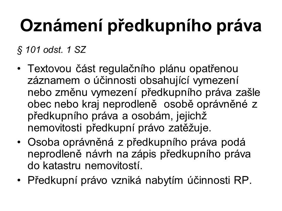 Oznámení předkupního práva § 101 odst.