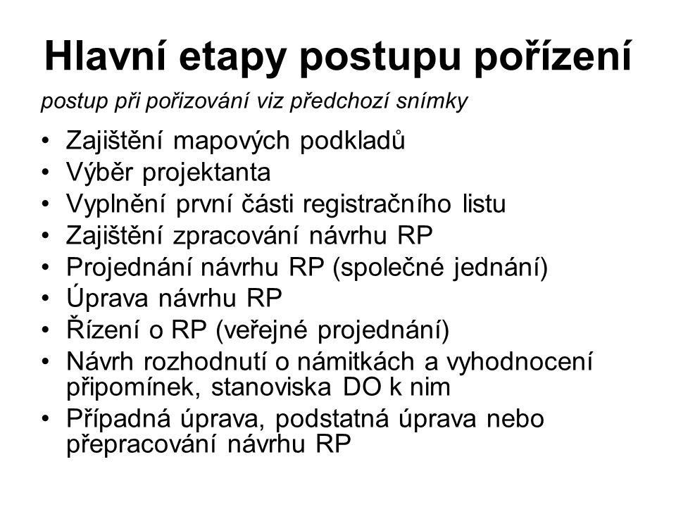 Hlavní etapy postupu pořízení postup při pořizování viz předchozí snímky Zajištění mapových podkladů Výběr projektanta Vyplnění první části registračního listu Zajištění zpracování návrhu RP Projednání návrhu RP (společné jednání) Úprava návrhu RP Řízení o RP (veřejné projednání) Návrh rozhodnutí o námitkách a vyhodnocení připomínek, stanoviska DO k nim Případná úprava, podstatná úprava nebo přepracování návrhu RP
